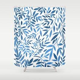 Blue leaf pattern Shower Curtain