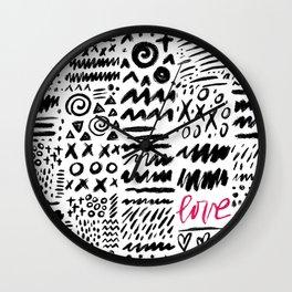Love Scribbles Wall Clock