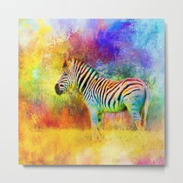Jazzy Zebra Colorful Animal Art by Jai Johnson Metal Print