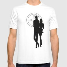 Double Oh Target... MEDIUM White Mens Fitted Tee
