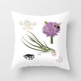 Chives and Pollinators Throw Pillow