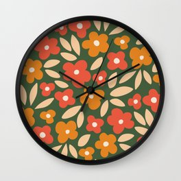 groovy flowers_red and orange on dark green Wall Clock