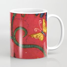 Batik butterflies and flowers on red Coffee Mug