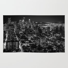 Seattle from the Space Needle in Black and White Rug
