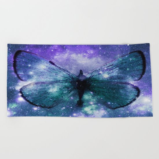 Celestial Butterfly Purple Teal Beach Towel