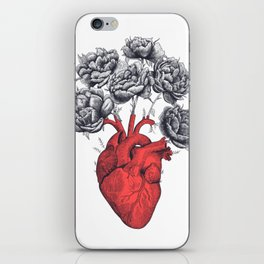 Heart with peonies iPhone Skin