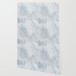 Marble Love Sea Blue Metallic Wallpaper