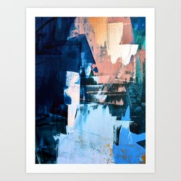 On the Dock: a pretty abstract design in blues and pinks by Alyssa Hamilton Art Art Print