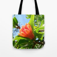 pomegranate Tote Bags featuring Pomegranate by aeolia