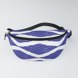 Cobalt and White Jumbo Scale Ikat Pattern Fanny Pack
