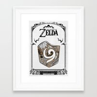 legend of zelda Framed Art Prints featuring Zelda legend - Kokiri shield by Art & Be