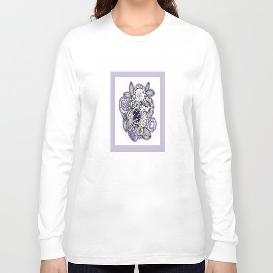 Pretty in Purple Zentangle Design Illustration Long Sleeve T-shirt
