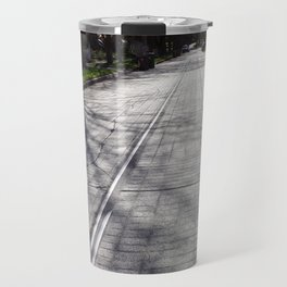 Streetcar Tracks Still Visible On Residental Street Travel Mug