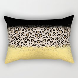 Wilder - black gold foil cheetah print animal pattern spots dots bold modern design sparkle glitter Rectangular Pillow