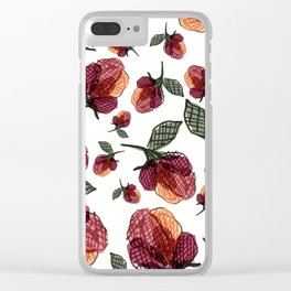 Prairie Rose Flower in Red and Orange Clear iPhone Case