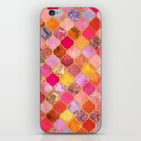 bedding iPhone & iPod Skins featuring Hot Pink, Gold, Tangerine & Taupe Decorative Moroccan Tile Pattern by micklyn