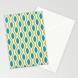 Retro Ogee Pattern 442 Blue Beige and Olive Stationery Cards