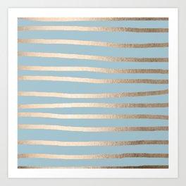 Abstract Drawn Stripes Gold Tropical Ocean Sea Blue Art Print