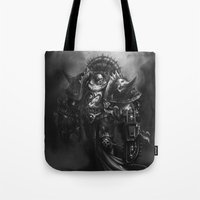 warhammer Tote Bags featuring Champion Of Chaos Undivided by Pavel Sokov