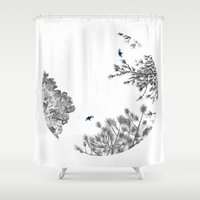 pie Shower Curtains featuring Calico Pie by Ellie Knight Design & Illustration