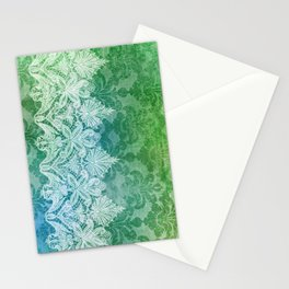 ABERDEEN HEIRLOOM, LACY DAMASK: OLD KELLY GREEN Stationery Cards