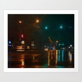 Rainy Night on Bay Area Art Print