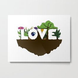 Love for Nature in Negative Space Metal Print