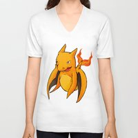 charizard V-neck T-shirts featuring Charizard Whale by CoolBreezDesigns