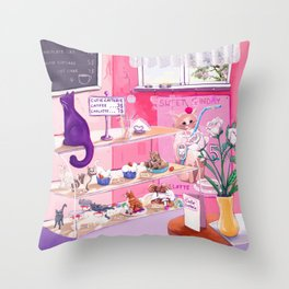 Cutie Catterie - sweet kitty bakery Throw Pillow