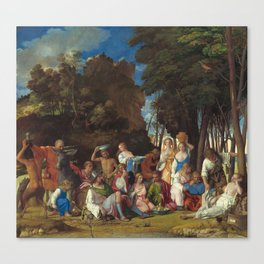 The Feast of the Gods Painting by Giovanni Bellini and Titian Canvas Print