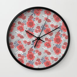 Crimson and Silver Floral Wall Clock