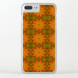 Autumnal Leaves Red and Green Repeating Pattern Clear iPhone Case