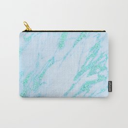 Teal Marble - Shimmery Glittery Turquoise Blue Sea Green Marble Metallic Carry-All Pouch