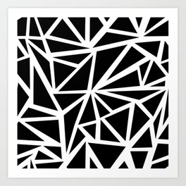 SHARDS PATTERN BLACK AND WHITE Art Print