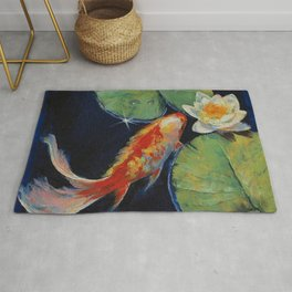 Koi and White Lily Rug