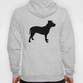 Pitbull silhouette black and white minimal modern dog breed art pillow square Hoody