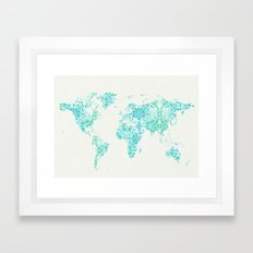 World Map Mandala Framed Art Print