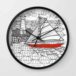 Sailors Dream Fair Winds Sailboat Zentangle Wall Clock