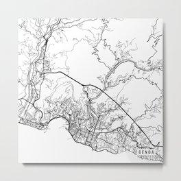 Genoa Map, Italy - Black and White Metal Print