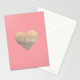 GOLD HEART CORAL Stationery Cards