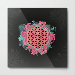 Flower of life with tropical flower wreath Metal Print