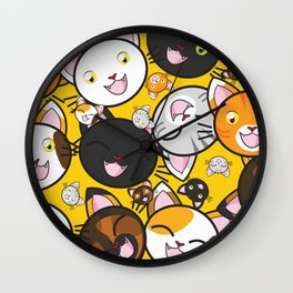 Smiley Cat Face Pattern - Cat Lovers Wall Clock