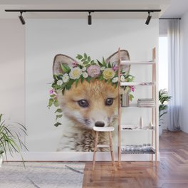 Baby Fox With Flower Crown, Baby Animals Art Print By Synplus Wall Mural