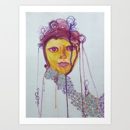 Magenta with Bubbles Art Print
