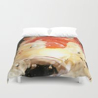 koi fish Duvet Covers featuring Koi Fish by VoiceOneArts