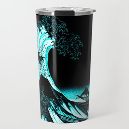 The Great Wave : Dark Teal Travel Mug