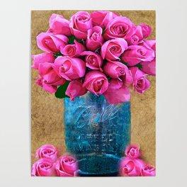 BALL MASON JAR AND ROSES Poster