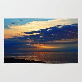 Blazing Sunset under Blue Sky Rug