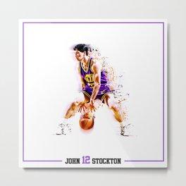 NBA Greatness in Motion - John Stockton Metal Print