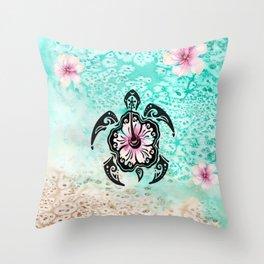 Hibiscus Turtle Throw Pillow